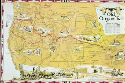 Oregon Trail On Us Map.Map Of The Old Oregon Trail Giclee Print By American School At