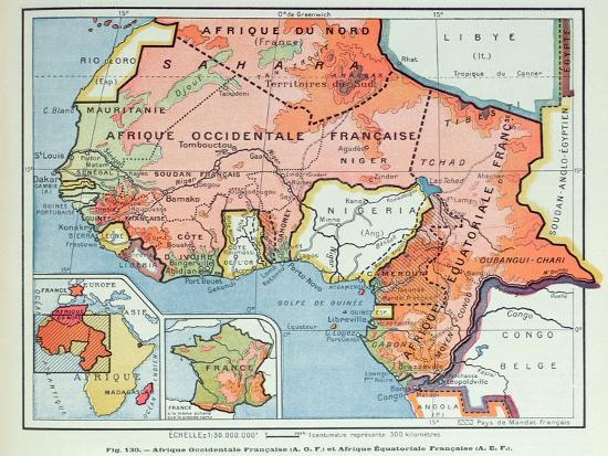 French Africa Map.Map Showing French Colonies In Africa 1938 Giclee Print At