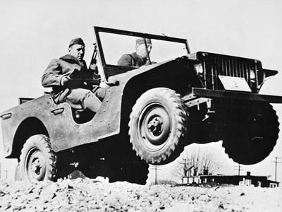Early Jeep Model on Test Run with Us Army
