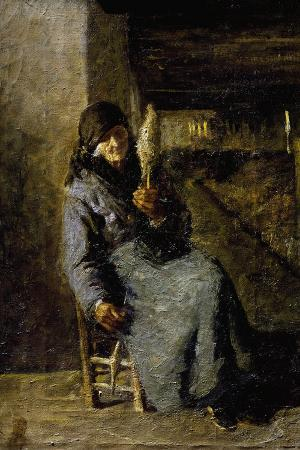 Old Woman Spinning with the Distaff