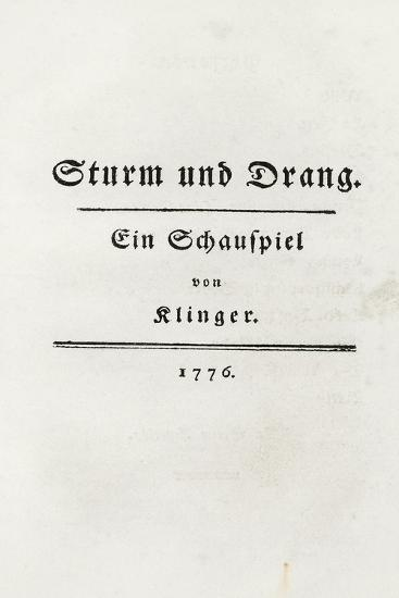 Title Page From Sturm Und Drang 1776