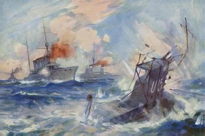 Sinking of the German Submarine U-15 by HMS Birmingham