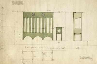 Design for Benches and a Table, Shown in Elevation and Section Plan, 1898