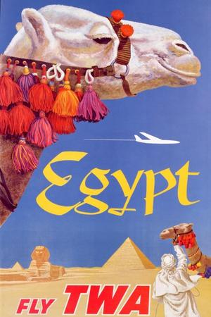 Poster Advertising Trans World Airlines Flights to Egypt, C.1967