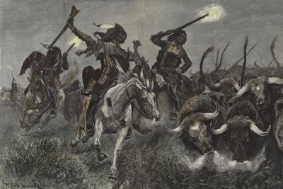 North American Indians Running Cattle into a Ranch