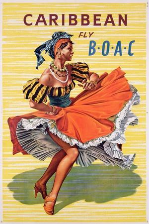 Poster Advertising B.O.A.C. Flights to the Caribbean, C.1950