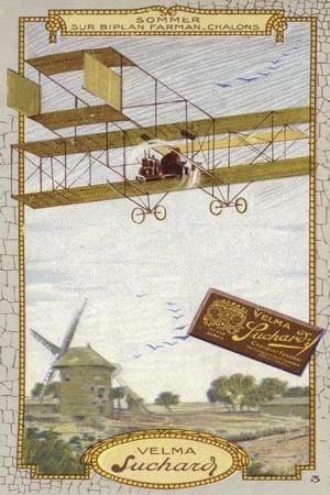 Roger Sommer in a Farman Biplane, Chalons-Sur Marne, France