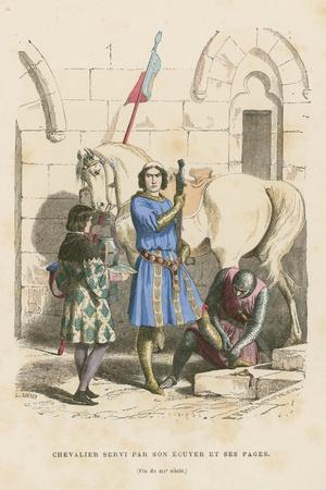 Knight Being Attended to by His Squire and Page, Late 12th Century
