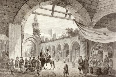 View of a Bazaar in Tunis, Tunisia in the 19th Century