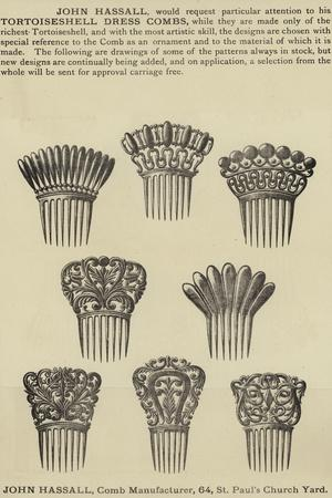 Advertisement for John Hassall Tortoiseshell Dress Combs