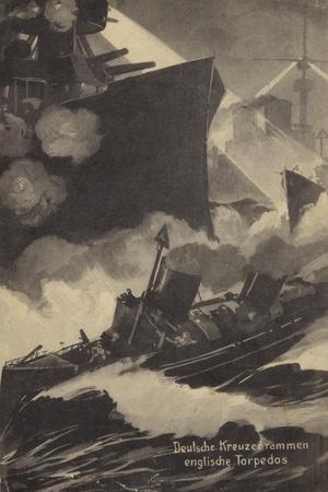 German Cruiser Ramming a British Torpedo Boat, World War I