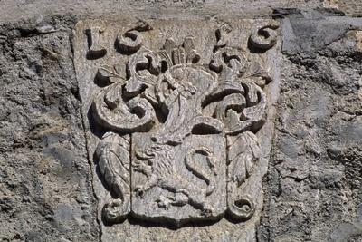 Coat of Arms in Stone with Lion Rampant, Picomtal Castle