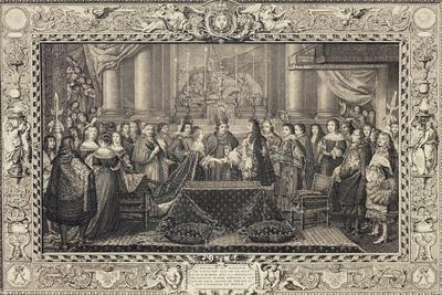 Engraving Depicting Wedding of Louis XIV of Bourbon