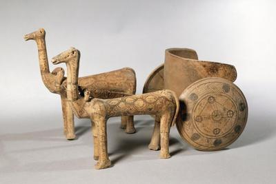 Painted Terracotta Figure of Chariot, from Tomb at Ancient Iolkos