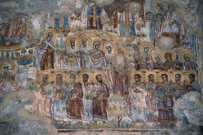 Saints in Procession, Fresco in St Nicholas Church