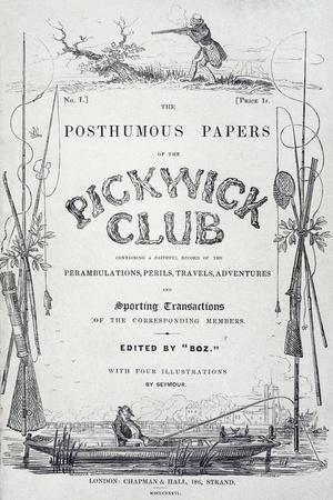 Pickwick Club, Cover of First Edition of Novel by Charles Dickens