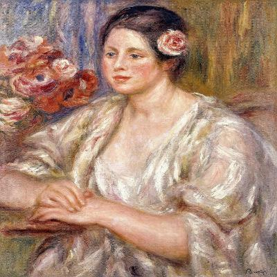 Madeleine in a White Blouse and Bouquet of Flowers, C.1915-1919