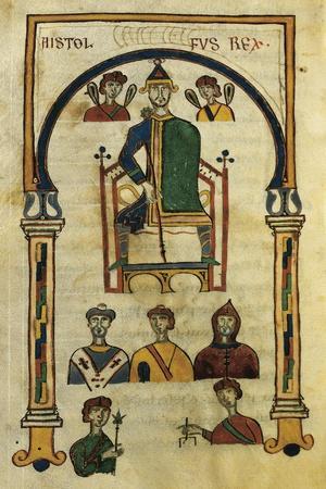 King Astolfo, Miniature from the Codex Matritensis Leges Langobardorum