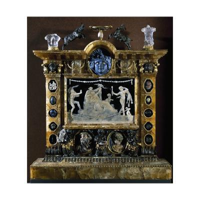 Cameo in Glass Paste with Bacchus and Ariadne, Framed