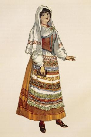 Costume Sketch for Role of Lola in Opera Cavalleria Rusticana