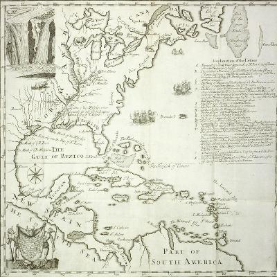 Folding Map of the North American Atlantic Coast, 1714