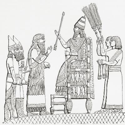 Sennacherib, Assyrian King, on His Throne before the City of Lachish