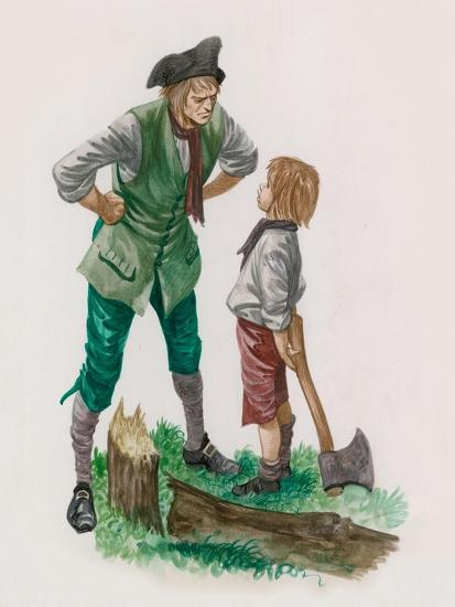 George Washington, Having Cut Down the Cherry Tree, with His Father
