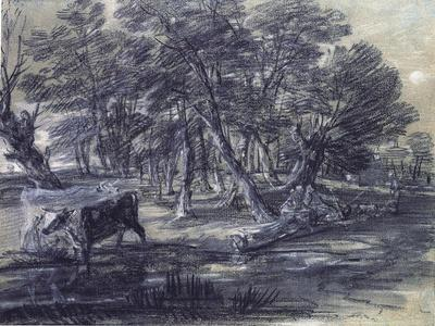 Wooded Landscape with Figures and Cattle at a Pool, C.1778