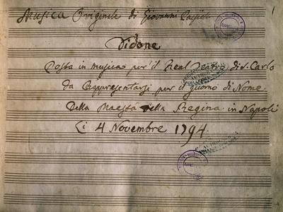Frontispiece of the Autograph Music Score of Dido
