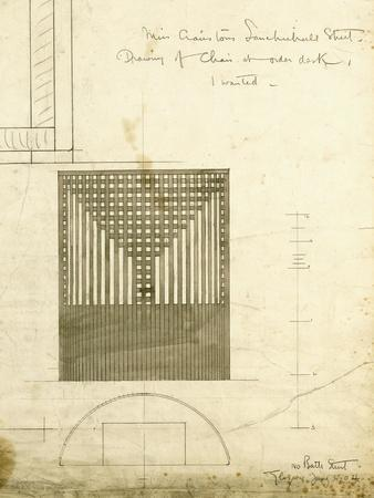 Design for the Order Desk Chair, Shown in Elevation and Plan, 1904