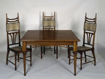 Art Nouveau Style Dining Room Table and Chairs, 1902