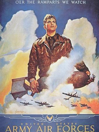 O'Er the Ramparts We Watch', 2nd World War Us Air Force Poster