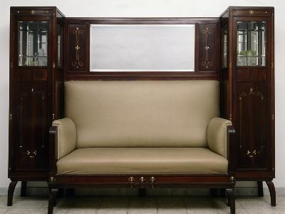 Art Nouveau Style Sofa Flanked by Two Cabinets