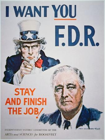 Election Campaign Poster Featuring President Franklin D. Roosevelt, 1941