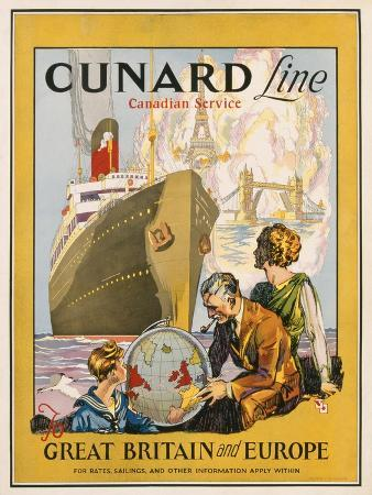 Poster Advertising the Cunard Line to Great Britain and Europe, C.1932