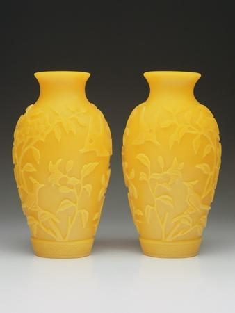 Pair of Carved Beijing Vases, Qianlong Period, 1736-95
