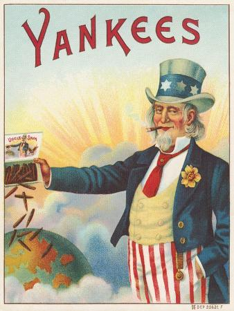 Yankees, Outer Cigar Box Label, Printed by Hermann Shott, C.1912