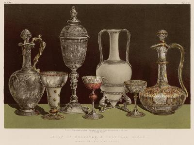 Group of Engraved and Coloured Glass by Messrs Pellatt and Co, London
