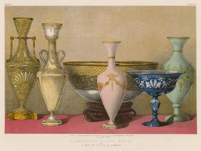 Ornamental Glass Group by M Maes of Clichy La Garenne