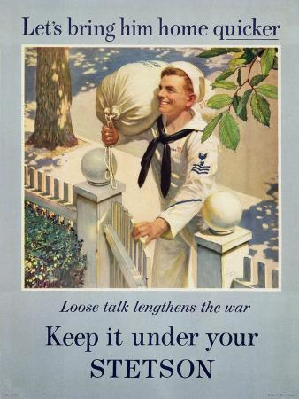 Wartime Poster, 'Keep it under Your Stetson', 1941-45