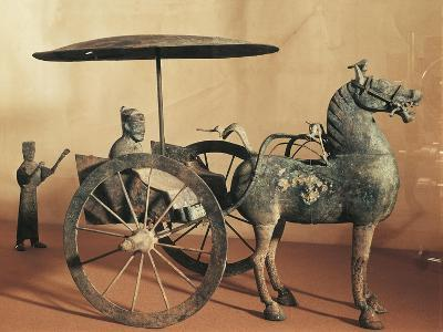 Model of a Horse-Drawn Cart with Driver and an Attendant, Wuwei Gansu