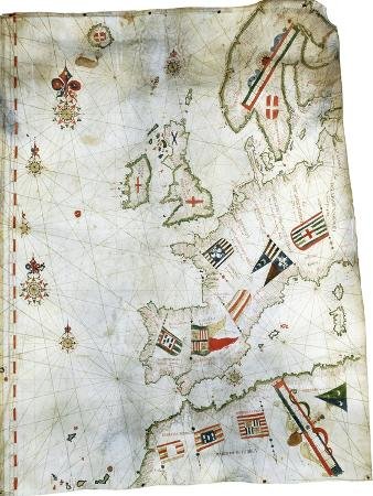 Portolan Chart of Western Europe and North Africa, C.1580