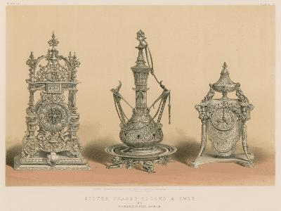 Silver Chased Clocks and Ewer by Barbedienne, Paris