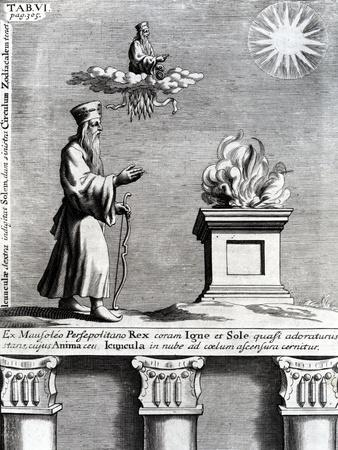 Illustration of Zoroaster Worshipping Fire and the Sun, 1697