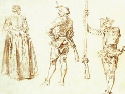 Study of a Young Woman and Two Huntsmen, C.1712-13