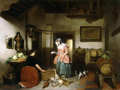 Interior of a Larder with Women Cleaning Game, 1852