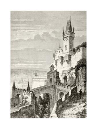 The Castle of Veste Coburg in Coburg, Germany in the 19th Century