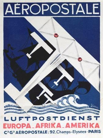 German Poster Advertising the French Airmail Service, 1928