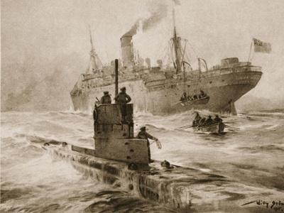 A Submarine and a British Ship, from 'The Illustrated War News'