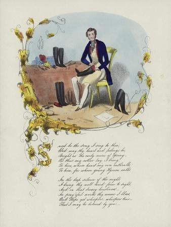British Valentine Card with an Image of a Man Reparing Boots